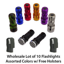 21 LED Flashlights Wholesale Lot of 10 Torches | Assorted Colors + Free Holsters