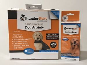 2 Thunder Items ThunderShirt XXSmall GRAY  + ThunderEase Calming Spray 2 ITEMS