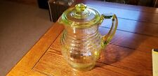 RARE VINTAGE LIME GREEN DEPRESSION GLASS PITCHER WITH LID