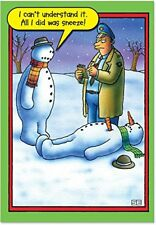 B5706 Box Set of 12 Snowman Sneeze Humor Christmas Greeting Cards with Envelopes