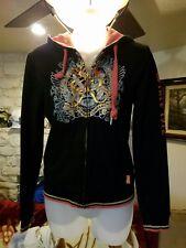 Ecko Gold Women's Black Hoodie Full Zip Jacket Size Medium Gold Graphic Cotton