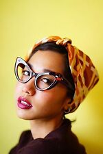 Vintage 1960s Style Cat eye Glasses Rockabilly Large Thick plastic Brown