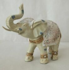 Elephant Ornament Cream/Ivory Cast Resin 7 x 6 inch / With Trunk Up / Boxed