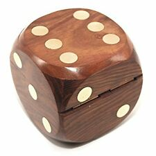 Wooden Sheesham Handcrafted Paper Weight Dice Box With 5 Dice Gift Item 50% Off