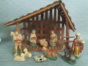 Vintage Nativity creche Figures plaster Paper Mache Japan Christmas