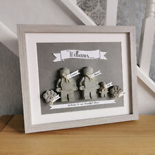 Grey Concrete Family Figure Frame Print Wall Art. Home Decor. Personalised Gift
