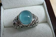 925 Argento Sterling Calcedonio Blu Ovale Cabochon BALI Stile RING SZ N 7
