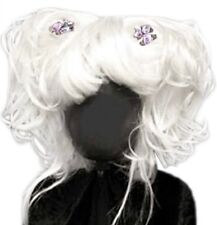 White Anime Cosplay Harajuku Purple Flower Curl Puff Ponytail Pigtails Bangs Wig