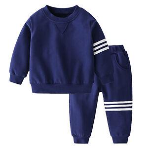 Infant Boys Girls Sports Outfits Striped T-Shirt Tops+Pants Set Baseball Uniform