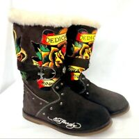 "Ed Hardy Leather Boots Size 6 Flower Applique ""Dedicated to the one I Love"""