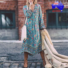 Plus Size Women Boho Long Sleeve Dress Ladies Evening Party Long Maxi Dresses