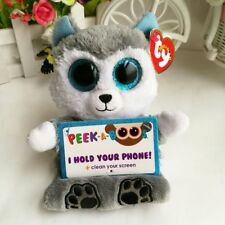 """TY 6"""" Peek-A-Boos With Tag Scout Husky Dog Phone Holder Kids Plush Stuffed Toys"""