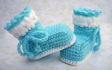 Babyschuhe Socken Schühchen handmade DIY Neu! Türkis Blau tunesisch häkeln Taufe
