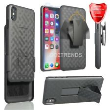 "For iPhone Xs MAX 6.5"" Slim Holster Combo Black Case w/ Glass Screen Protector"