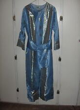 Vintage Blue With Silver Trim Silk Kimono Gown Attached Lined Robe Sash NICE