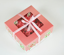 Christmas Window Boxes+Inserts | for Cupcake/Muffin Holiday Party Gift | 12 cts