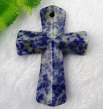 Beautiful Sodalite carved cross  pendant bead BC2170
