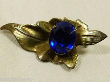 oval stone leaf pin brooch Vtg gold tone cobalt blue