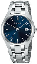 Pulsar PXDA93 Dress Silver Tone Stainless Steel Midnight Blue Dial Date Watch