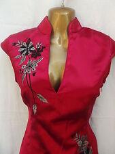 Oriental Chino Rojo y Gris Moda Vestido Talla 20