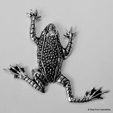 Frog Toad Pewter Brooch Pin - British Artisan Signed Badge - Witchcraft