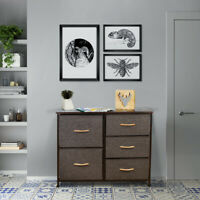 5 Drawers Home Storage Cabinet Dressers Tower Wood Top Removable Steel Brown