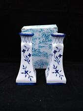 BLUE DELFT SQUARE CANDLE HOLDERS NIB