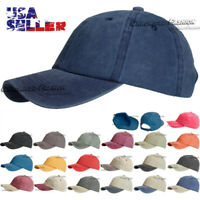 Baseball Cap Washed Cotton Hat Adjustable Polo Style Blank Solid Plain Dad Men