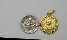 14K gold 19 mm Virgin Mary ( Madonna ) medal / pendant