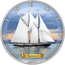 Age of Sails Das Zeitalter der Segel Bluenose II 1 OZ Unze 2021 USA Silber Eagle