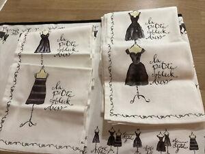 Little Black Dress French Chic Ladies Inspired Table Runner Linen Set 12 Napkins