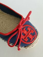 TORY BURCH BALLET ESPADRILLE CANVAS EMBROIDERED LOGO FLATS US 5 I LOVE SHOES