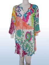 blusa donna fiori colorata manica 3/4 MADE IN INDIA tg XL EXTRA LARGE