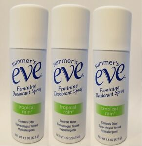 Pack of 3 Summer's Eve! Tropical Rain 1.5 oz Feminine Deodorant Spray!