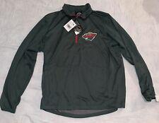 New Men's Nhl Minnesota Wild 1/4 Zip Pullover Shirt Jacket Medium Nwt