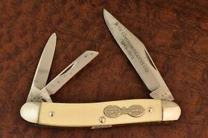 BOKER TREE BRAND USA WISS 1848-1973 WHITE DELRIN WHITTLER KNIFE NICE (9323)