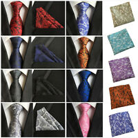 Men Silk Paisley Flower Tie Jacquard Woven Necktie Pocket Square Handkerchief