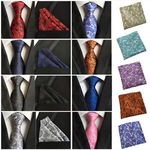 Men Silk Paisley Flower Tie Jacquard Woven Necktie Pocket Square Handkerchief