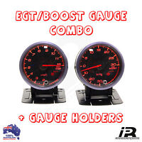 PYRO EGT EXHAUST GAS TEMPERATURE GAUGE + TURBO BOOST 30 PSI PYROMETER KIT 60MM