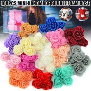 100x Artificial Fake Foam Rose Heads Flower Buds Bouquet DIY Home Wedding Decor