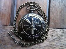Car Auto Mechanic Guaranteed Performance Bronze Quartz  Pocket Watch