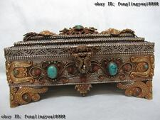 Nepal Silver 24k Gild Handwork inlay Lapis lazuli turquoise coral jewelry Box