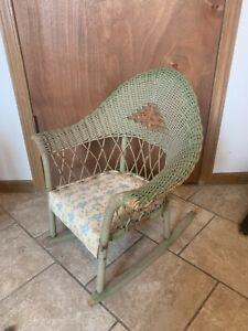 Antique Children's Wicker Woven Cane Rattan Wooden Rocking Chair