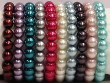 Wholesale Lot of 10 gorgeous mix color glass pearl beaded Stretch Bracelets 8mm