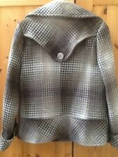 LADIES JACKET SIZE 12 14 SHORT COAT BEIGE CHECK DOUBLE BREASTED WINTER AUTUMN