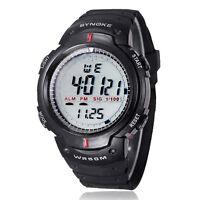 Herren Wasserdicht Outdoor Sport Digital LED Quarz Alarm Armbanduhr in schwarz