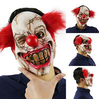 Scary Clown Mask with Hair Evil Halloween Fancy Dress Costume Latex Masks Gifts