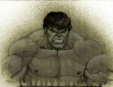 "HULK Water Color PRINT signed by LEE OAKS Marvel Comics 8.5""X11"""