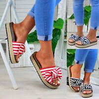 New Womans Slip On Sliders Bow Platform Mule Summer Sandals Espadrille Shoes