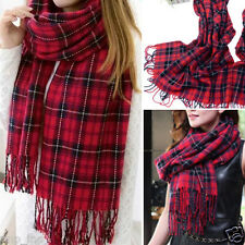 Red Women's Winter Long Scarf Wrap Blanket Oversized Shawl Plaid Check Tartan OS